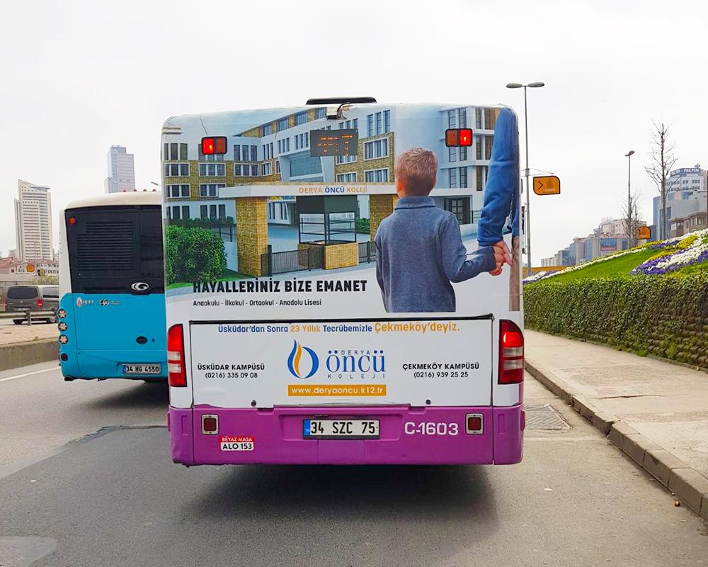 medya atak - derya öncü koleji otobüs superback giydirme